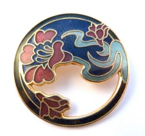 Vintage Cloisonne Enamel Floral Design Brooch By Fish And Crown.